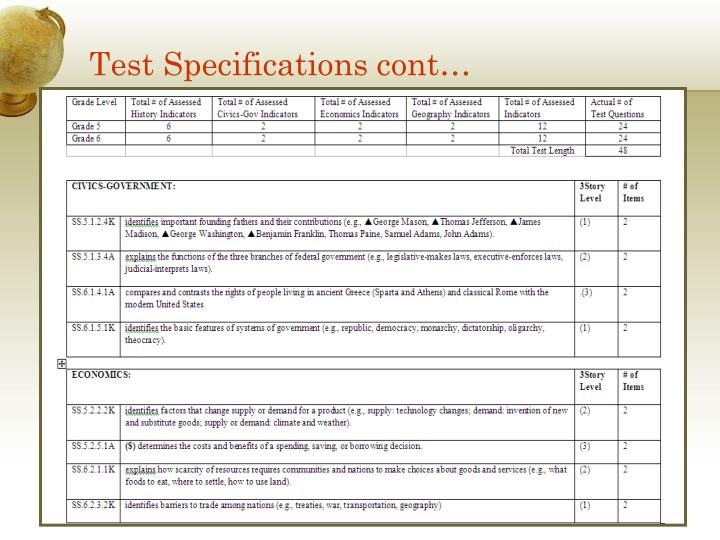 Test Specifications cont…