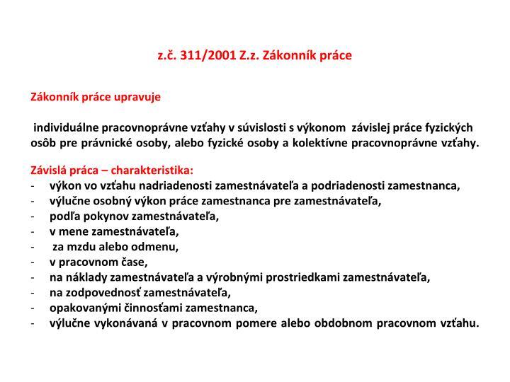 z.č. 311/2001 Z.z. Zákonník práce