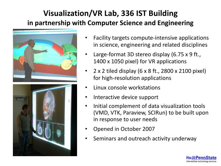 Visualization/VR Lab, 336 IST Building