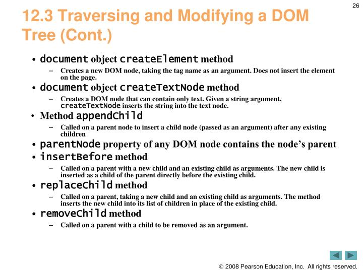 12.3 Traversing and Modifying a DOM Tree (Cont.)