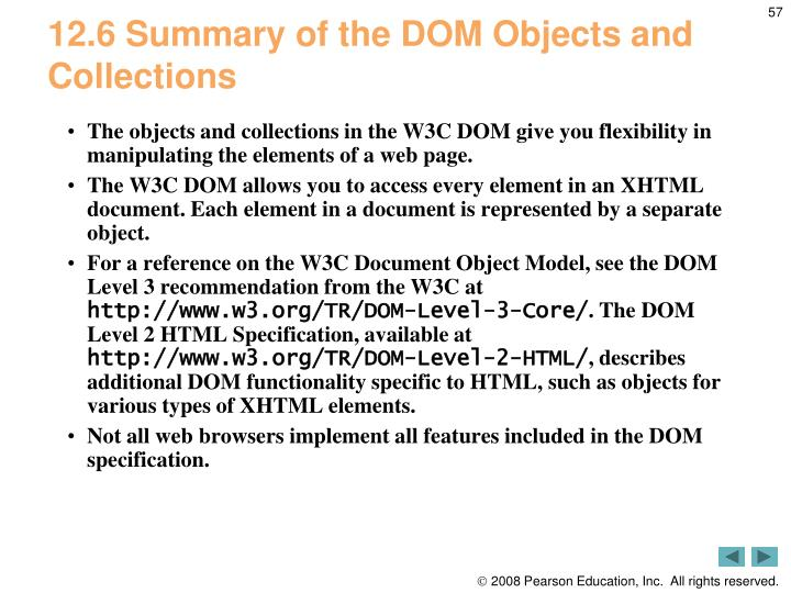 12.6 Summary of the DOM Objects and Collections
