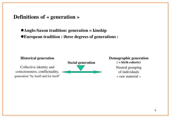 Definitions of « generation »