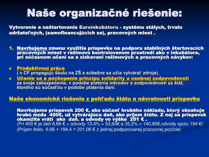 Naše organizačné riešenie: