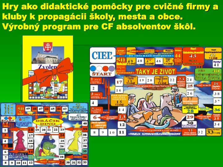 Hry ako didaktické pomôcky pre cvičné firmy a kluby k propagácii školy, mesta a obce. Výrobný program pre CF absolventov škôl.