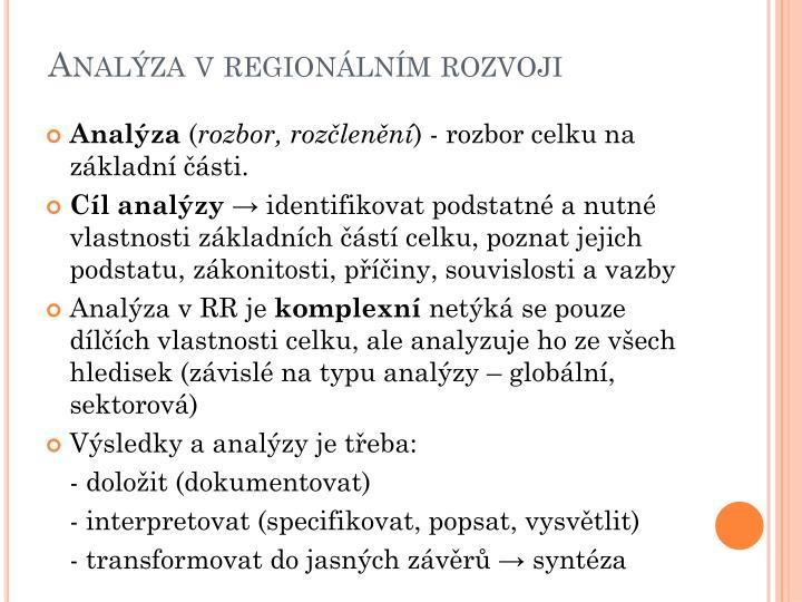 Analýza v regionálním rozvoji