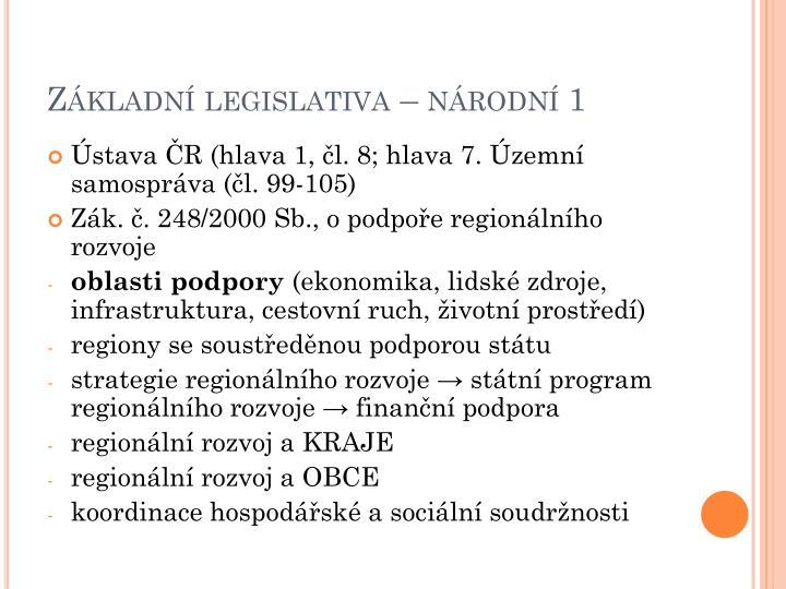 Základní legislativa – národní 1