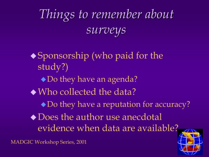 Things to remember about surveys