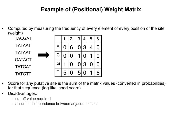 Example of (Positional) Weight Matrix