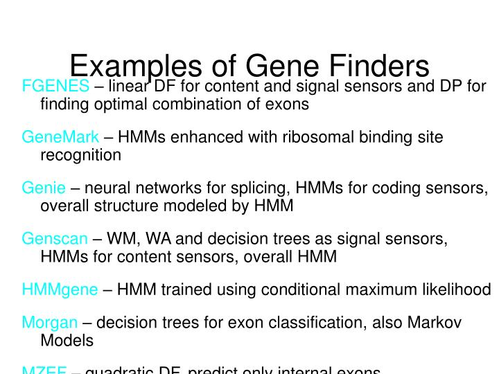 Examples of Gene Finders