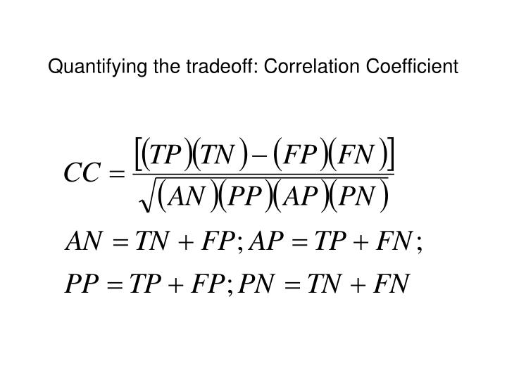 Quantifying the tradeoff: Correlation Coefficient