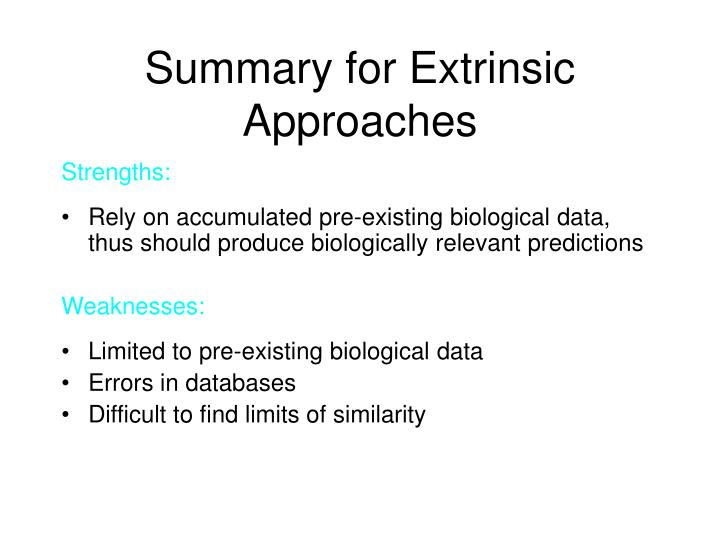 Summary for Extrinsic Approaches