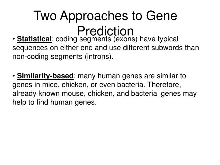 Two Approaches to Gene Prediction