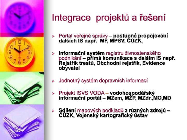 Integrace  projektů a řešení