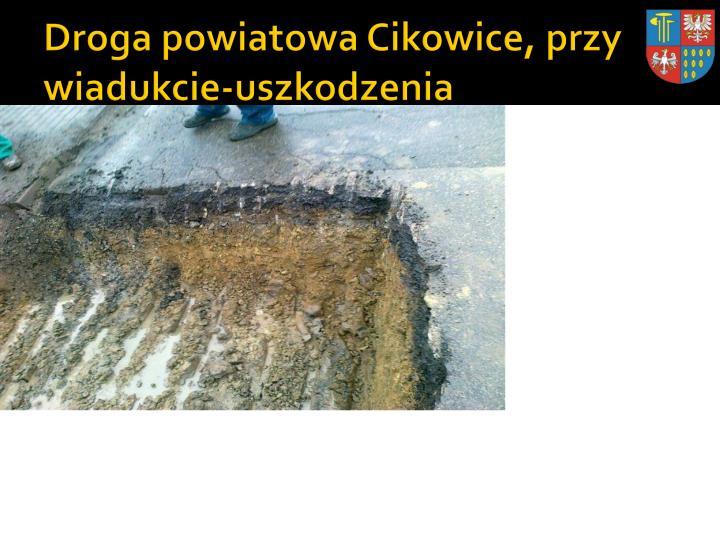 Droga powiatowa Cikowice, przy wiadukcie-uszkodzenia