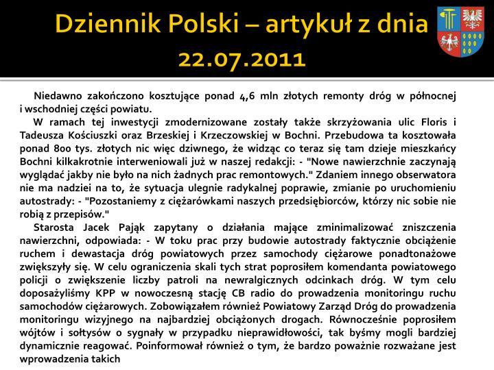 Dziennik Polski – artykuł z dnia 22.07.2011