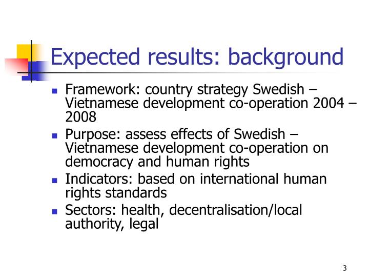 Expected results: background