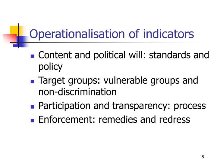 Operationalisation of indicators