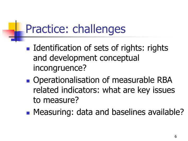 Practice: challenges