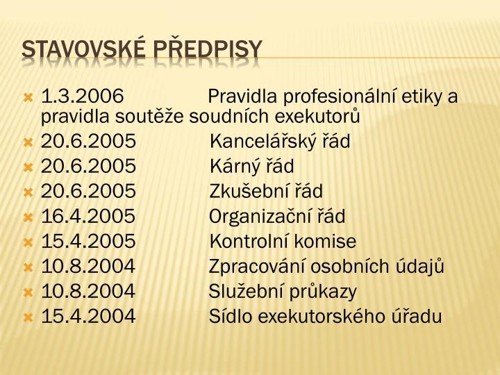 1.3.2006 Pravidla profesionální etiky a pravidla soutěže soudních exekutorů