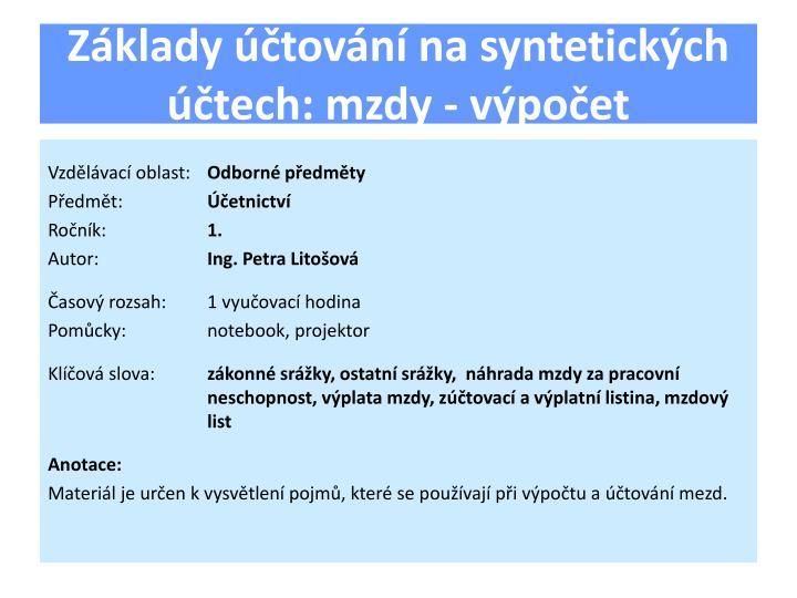 Základy účtování na syntetických účtech: mzdy - výpočet