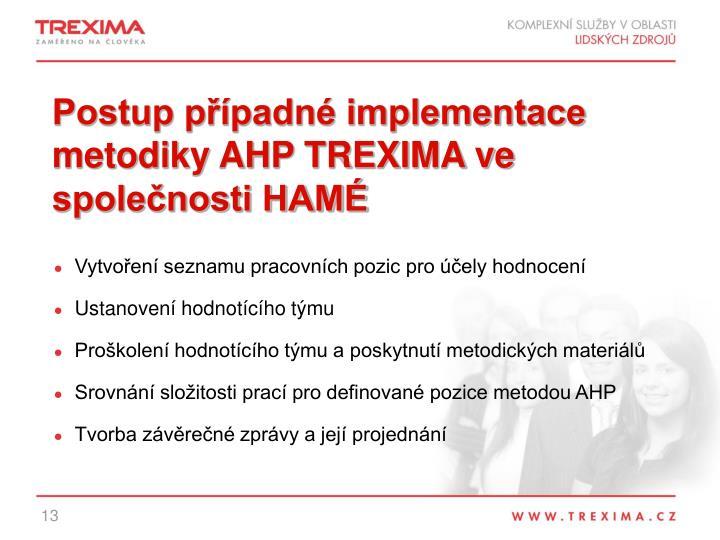 Postup případné implementace metodiky AHP TREXIMA ve společnosti HAMÉ