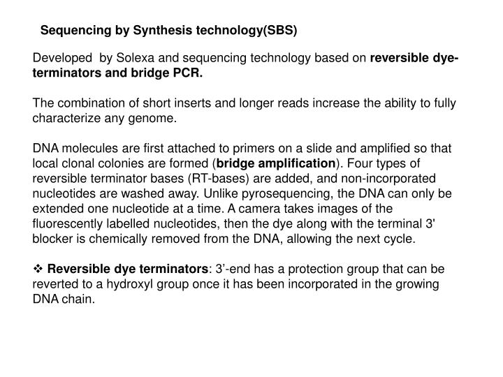 Sequencing by Synthesis technology(SBS)