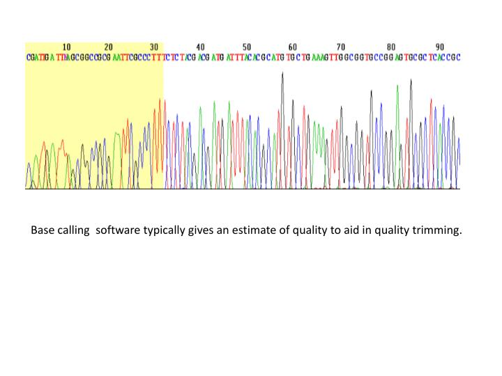 Base calling  software typically gives an estimate of quality to aid in quality trimming.