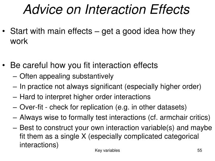 Advice on Interaction Effects