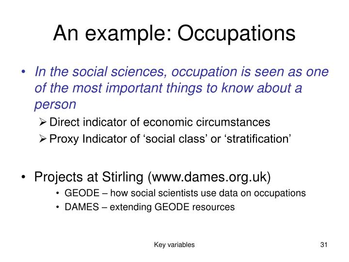 An example: Occupations
