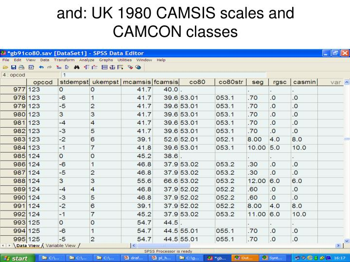 and: UK 1980 CAMSIS scales and CAMCON classes