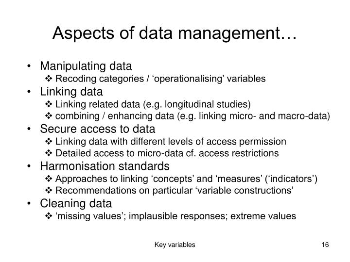 Aspects of data management…