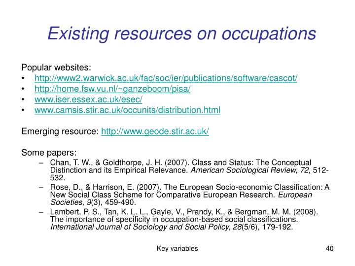 Existing resources on occupations