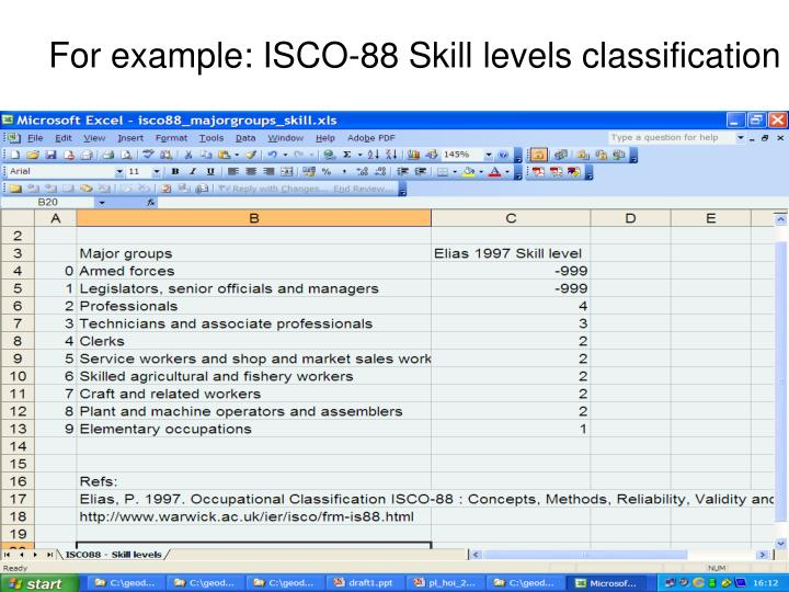 For example: ISCO-88 Skill levels classification
