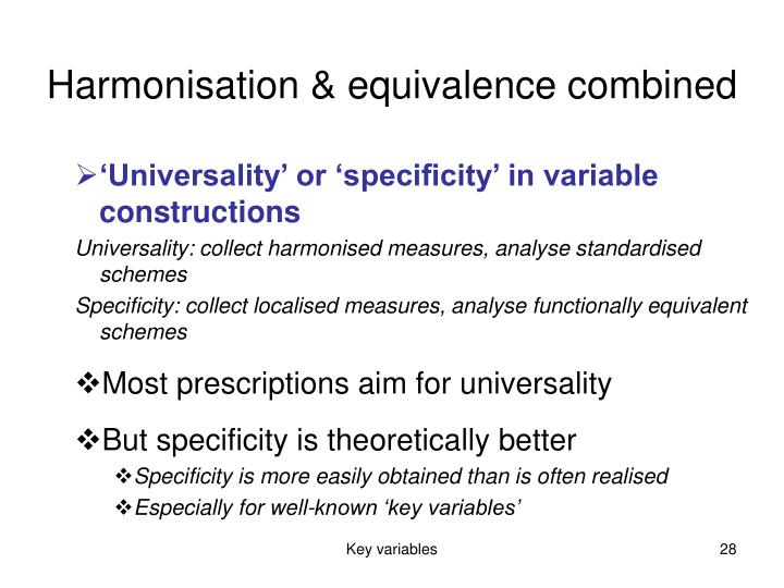 Harmonisation & equivalence combined