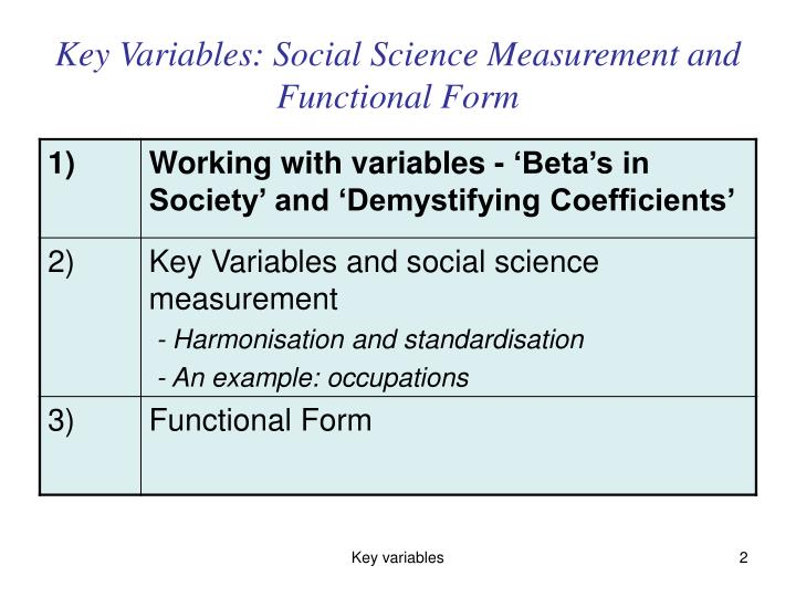 Key Variables: Social Science Measurement and Functional Form