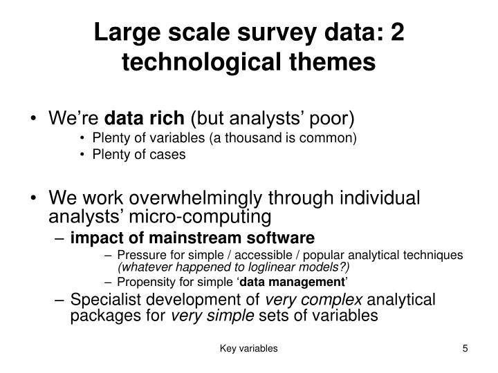 Large scale survey data: 2 technological themes