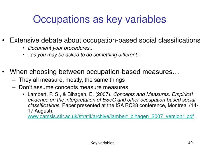 Occupations as key variables