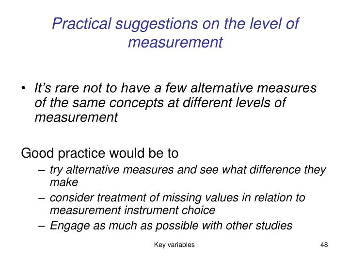 Practical suggestions on the level of measurement