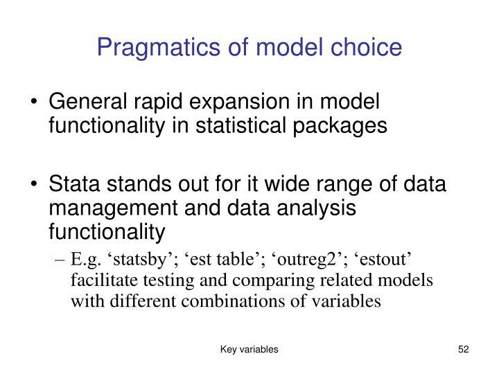 Pragmatics of model choice