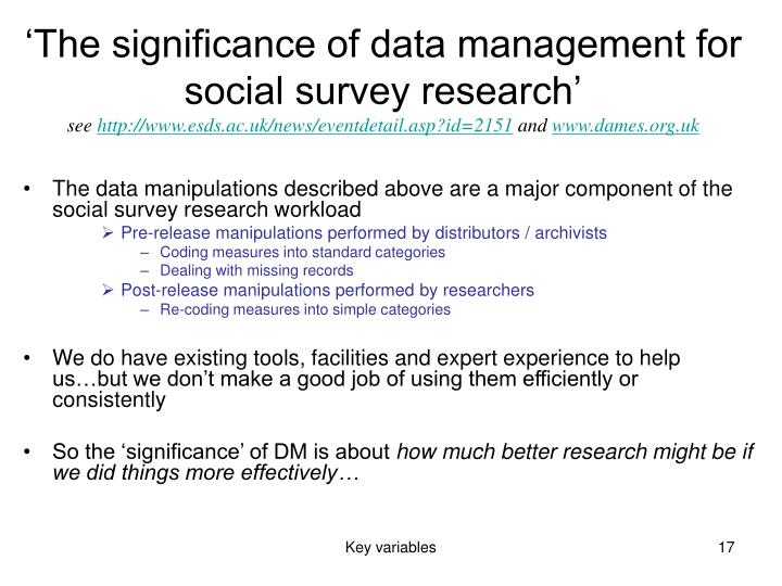 'The significance of data management for social survey research'