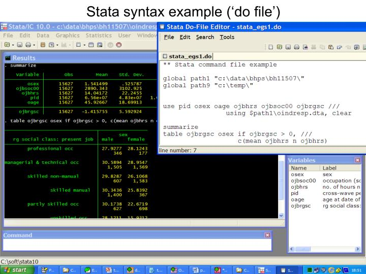 Stata syntax example ('do file')