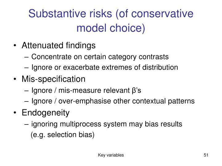 Substantive risks (of conservative model choice)