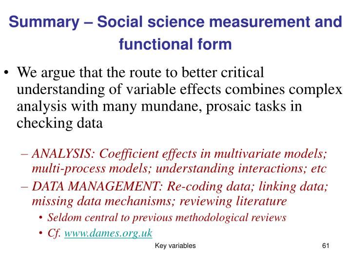 Summary – Social science measurement and functional form