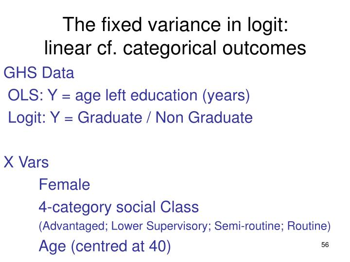 The fixed variance in logit: