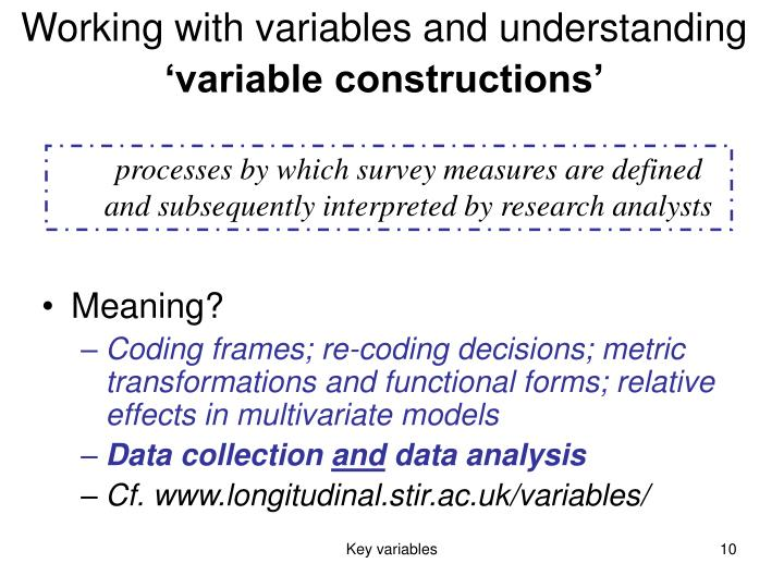 Working with variables and understanding