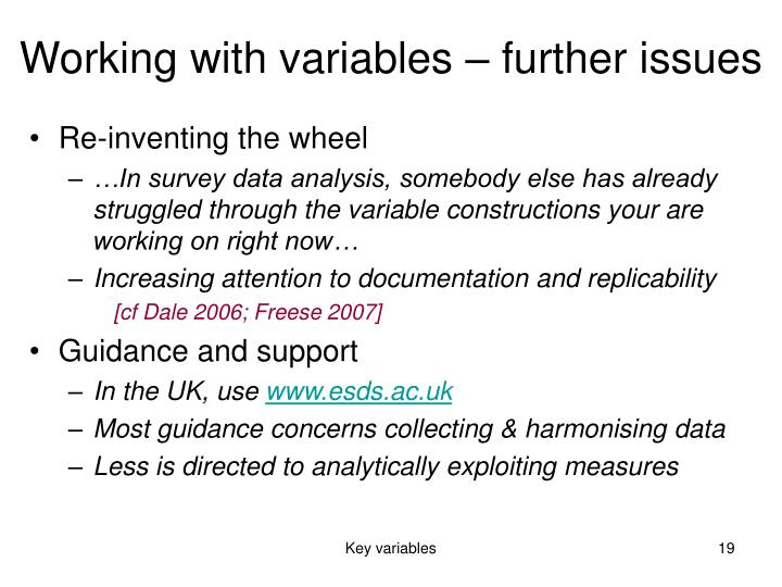 Working with variables – further issues