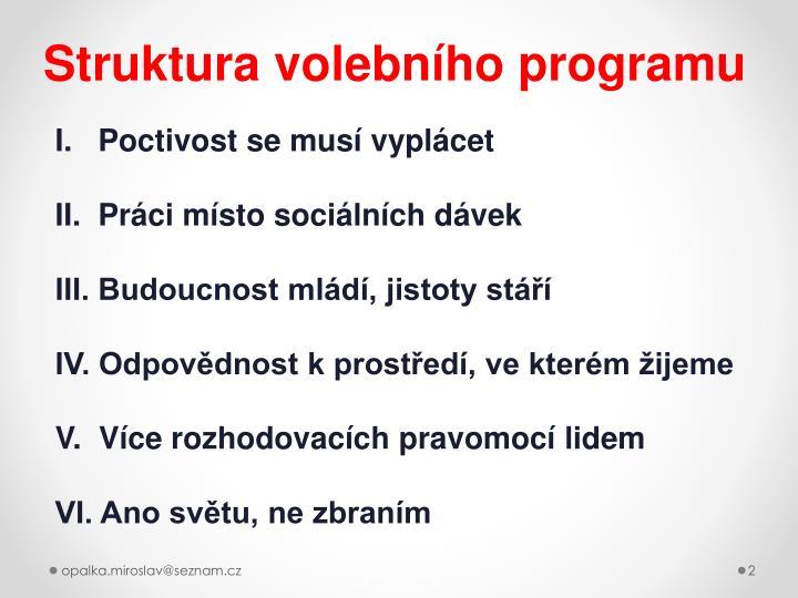Struktura volebního programu