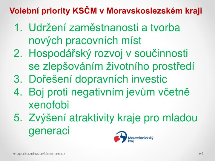 Volební priority KSČM v Moravskoslezském kraji
