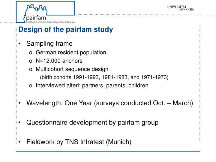 Design of the pairfam study