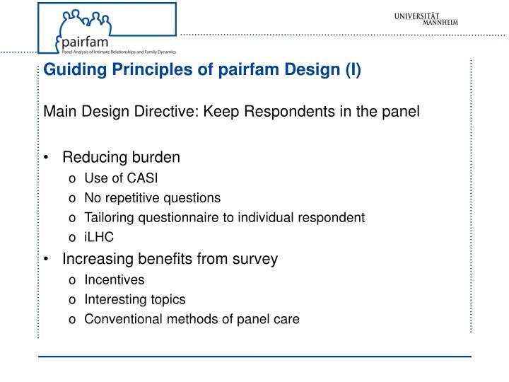 Guiding Principles of pairfam Design (I)